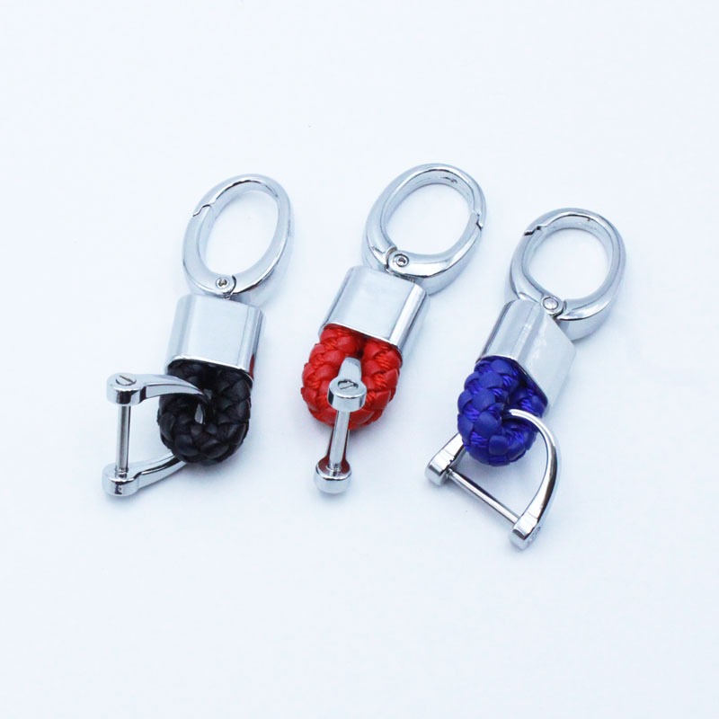 PU leather braided rope car key ring for Cadillac srx cts ats escalade sts dts bls key buckle keychains auto accessories