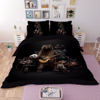 Lovely Panda Bedding Set Black Duvet Cover Cartoon Music Guitar For Children Kids Full Queen King