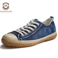 Maden 2018 Spring Summer Denim Vintage Style Men Casual Shoes High Quality Vulcanize Shoe Old Retro