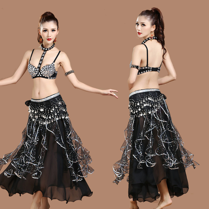 Belly Dance Costumes Black Chiffon Long Skirt Chain Bra Coin Belt Indian Costume Belly Dancing Clothing Women Performance DN1411