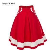 Weyes& Kelf, новинка, Ретро стиль, однотонная, высокая талия, юбки для женщин, s, плиссированная, элегантная женская юбка, Femme, летние юбки для женщин, Faldas Mujer