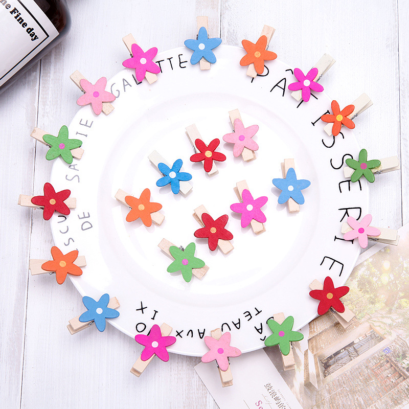 1set(6pcs) Cute Kawaii Colorful Mini Flower Wood Memo Paper Clip Lovely Star Photo Clips For Message Decoration Office