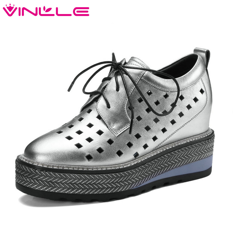 VINLLE 2018 Summer Fashion Women Pumps Wedge High Heel Lace Up Genuine Leather Black Ladies Casual Shoes Size 34-42 hot selling black white women genuine leather shoes woman fashion hidden wedge heel lace up casual shoes size 33 40