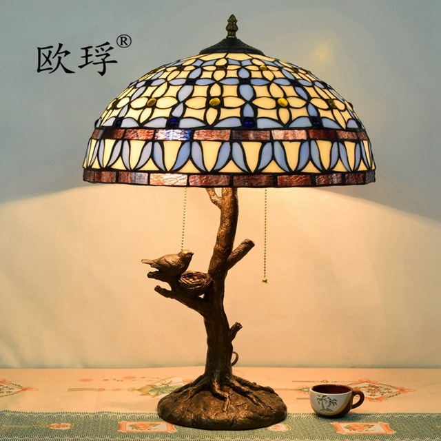 European Mediterranean Gardenia Tiffany Table Lamp Retro Tree Lamp Base  Restaurant Bar Club Living Room Bedroom