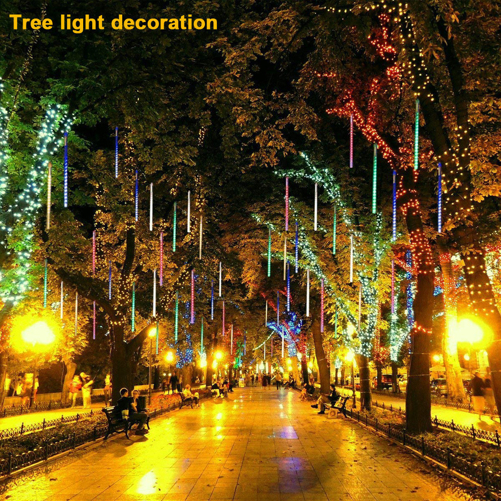 Party LED Lights Meteor Shower Rain Snowfall Xmas Tree Garden Outdoor Christmas Party Valentines ...