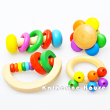 Baby Toys Baby Musical Toys Rattles Mobiles Colourful Ifant Rainbow Geometric Rattles Baby Musical Wooden Toys 4Pcs/Lot Gift