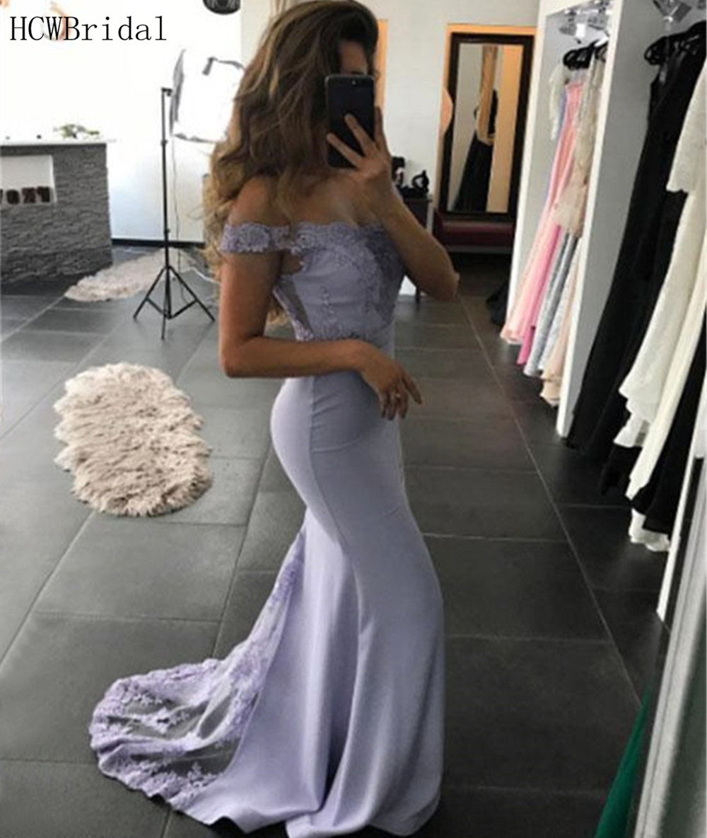 Simple Mermaid   Evening     Dress   Boat Neck Off The Shoulder Elastic Satin High Quality Prom Gown 2019 Long Formal Women   Dress   Cheap