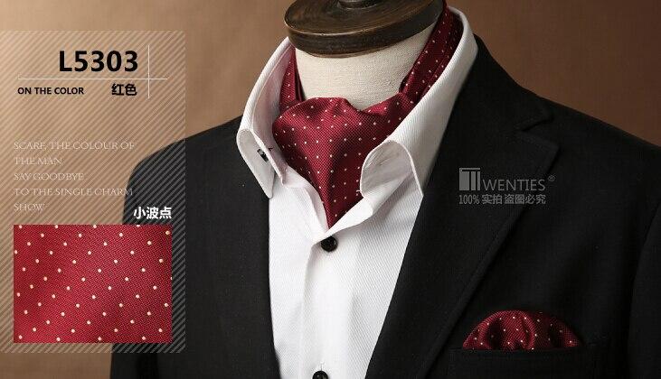 Red Ascot Cravat(Scarf )+Pocket Square 1set/lot L5303 Dot 100% Silk Jacquard Ties - Bo Shop store