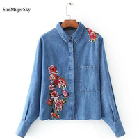 Embroidery Denim Shirt Women Blouses 2017 Casual Long Sleeve Tops Shirts Jeans Female Blouse