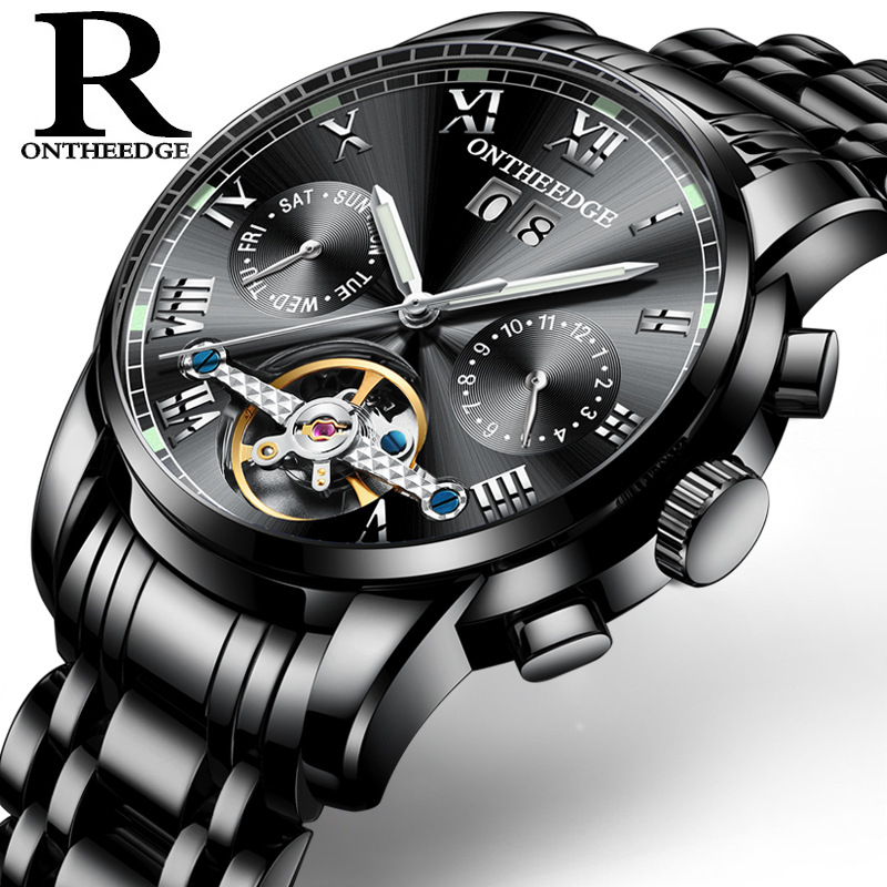 ONTHEEDGE New Men Luxury Automatic Mechanical Watch Male Clock Stainless Steel Business Watches Tourbillon relogio masculino цена 2017