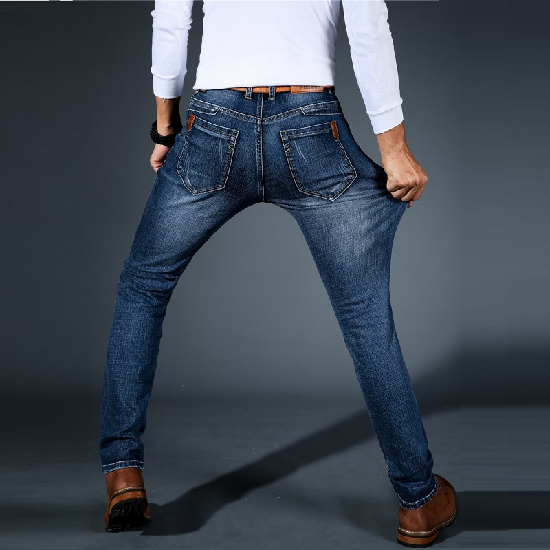 Men's   Jeans   Pants Biker Black Blue Classic Designer Brand Fashion Straight Fit Male Denim Trousers Elastic Stretch   Jeans   Men