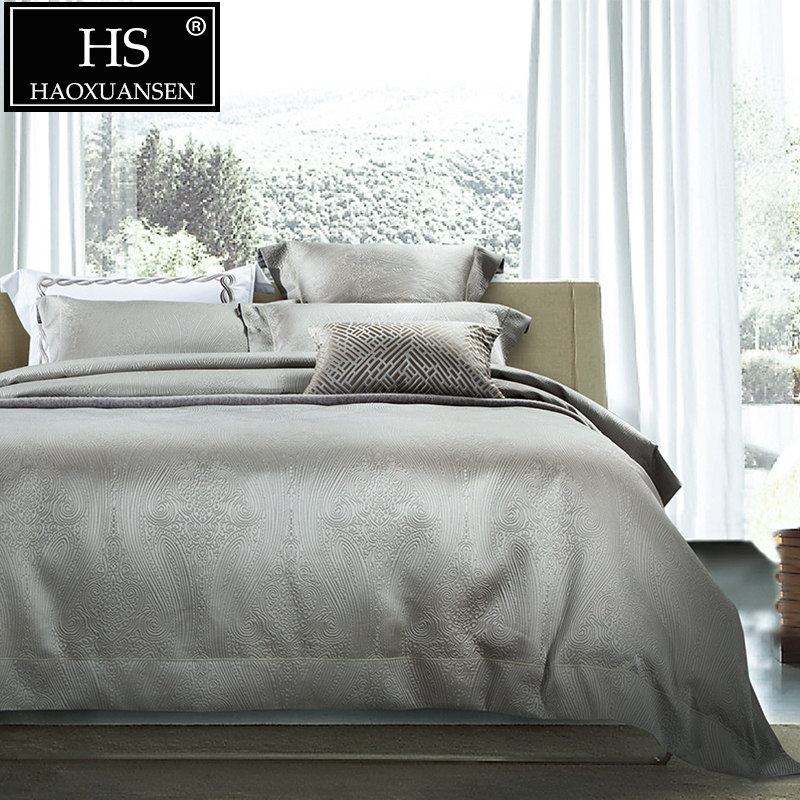 HS 120S Luxury Gray 4pcs Jacquard Comforter Bedding Sets Wedding Pure Color Bed Linens King Size Thickened  Duvet Cover