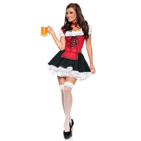 2017 di Vendita Donne Sexy Cameriera del Bar Beer Girl Tedesco Bavarese Oktoberfest Festival Fancy Dress Cosplay Costume di Halloween