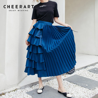 Cheerart Ruffle Pleated Skirt Womens Blue Midi Long Skirt Women High Waist A Line Skirt 2019 Designer Fashion Clothes