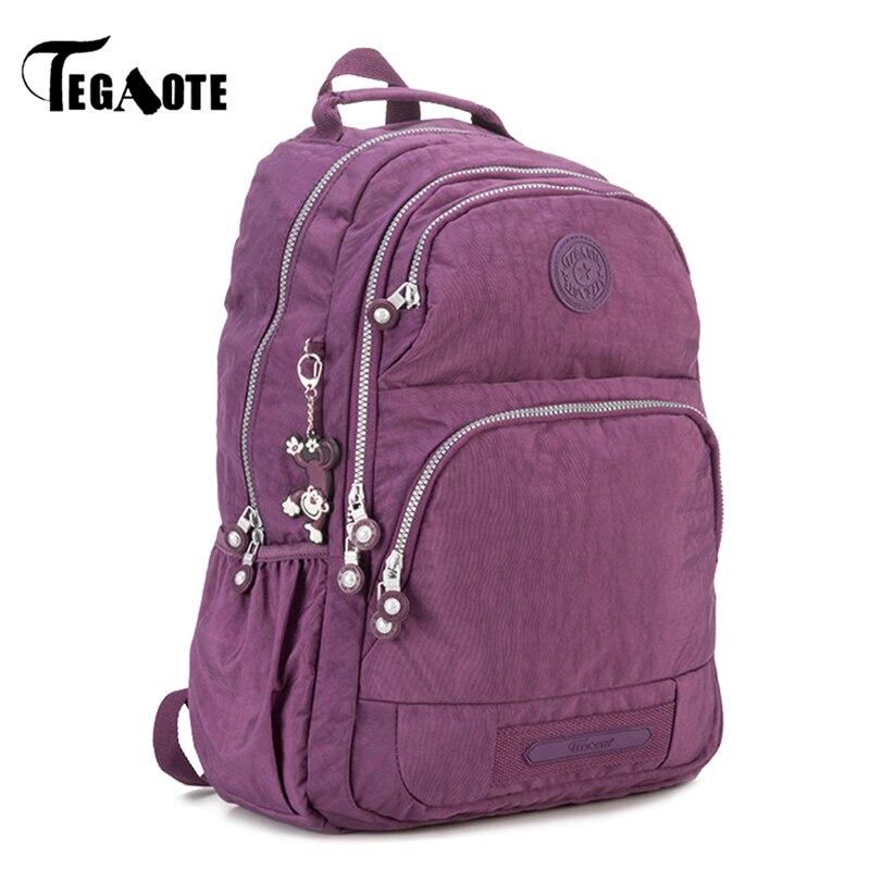 TEGAOTE School Backpack for Teenage Girls Nylon Casual Mochila Feminina Backpacks Women Solid Brand Laptop Bagpack Female 2017 tegaote backpack women fashion school backpacks for teenage girls mochila feminina escolar bolsa travel bagpack female sac a do