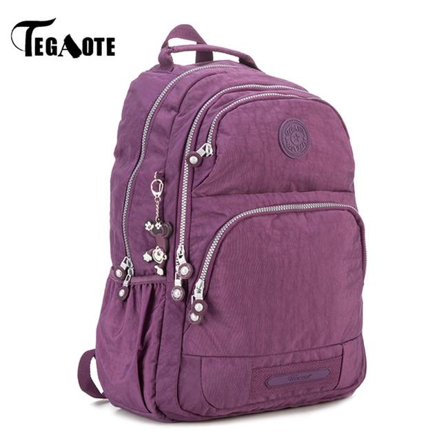 2fefe385018e TEGAOTE School Backpack for Teenage Girls Nylon Casual Mochila Feminina  Backpacks Women Solid Brand Laptop Bagpack Female 2017