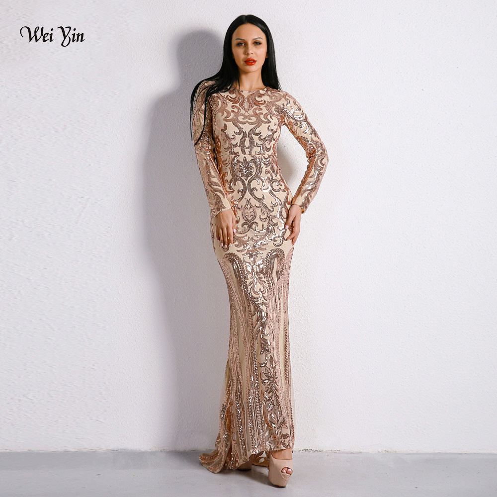 Weiyin 2019 Elegant Gold Sequin Mermaid Prom Dresses Long Sleeve Evening Party Gowns Women Special Occasion Formal Dress WY1146