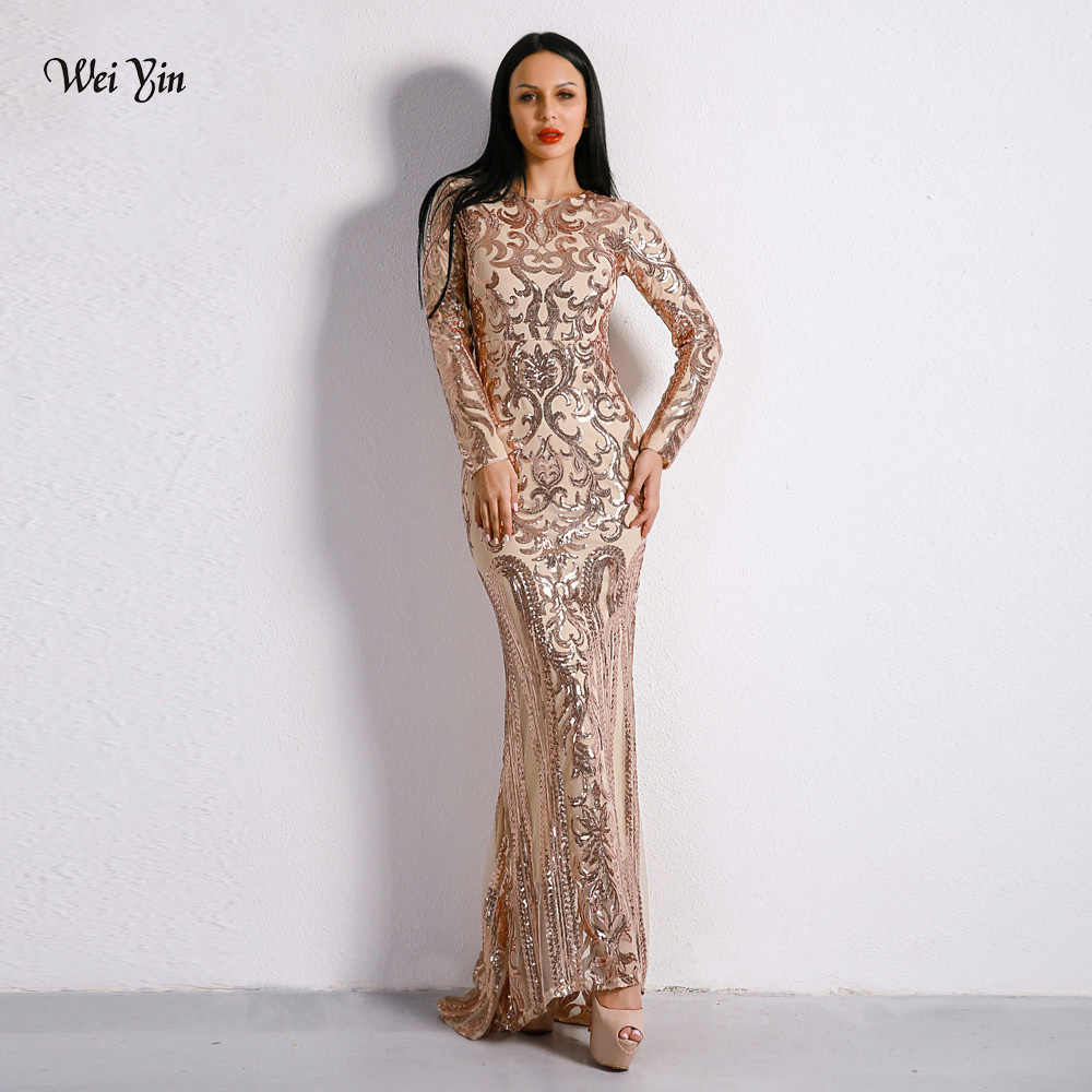weiyin 2019 Elegant Gold Sequin Mermaid Prom Dresses Long Sleeve Evening  Party Gowns Women Special Occasion 849d0de1f013