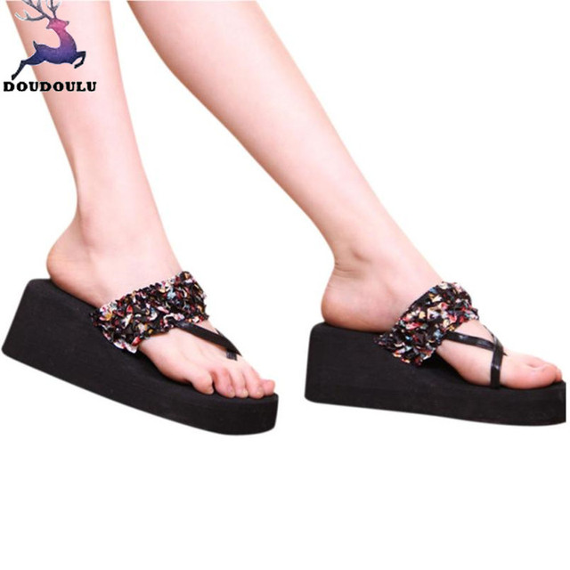 8b101fd93 Bohemian Slippers Stain Floral Wedge Heeled Flip Flops Summer Beach Sandals  Fashion Casual Mid Heels Shoes Woman Zapatos Mujer