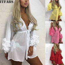 New Women Chiffon Flower Dress Beach Cardigan Bikini Cover Up Wrap Sundress Holiday Summer Mini