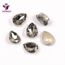 YANRUO Teardrop Grey Black Diamond Fancy Claw Rhinestones Sewing Ornaments Jewelry Appliques Gems for Crafts