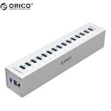 ORICO A3H13P2 Aluminio 13 Puertos USB3.0 HUB con 2 Puertos de Carga 5V2. 4A Cargador Super/5V1A Universal-plata