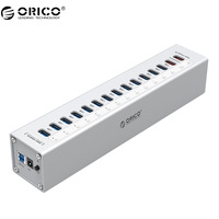ORICO Aluminum With 5V2 4A 5V1A Charger 13 Port Multifunction USB 3 0 HUB Silver A3H13P2