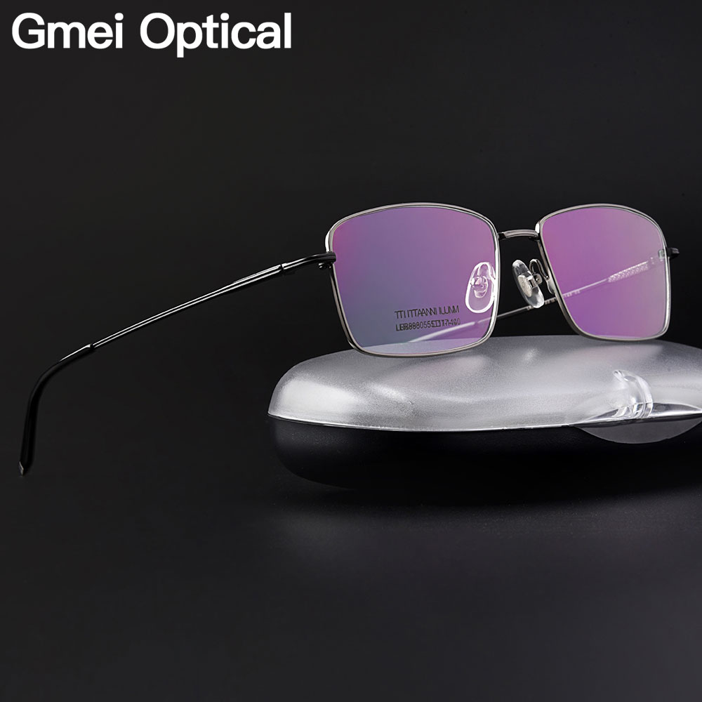 Gmei Optical Ultralight 100% Pure Titanium Full Rim Glasses Frame For Business Men Myopia Reading Prescription Spectacles LR8980