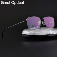 Мужская оправа для очков Gmei, оптическая Сверхлегкая оправа из 100% чистого титана с полной оправой для чтения по рецепту при близорукости, LR8980