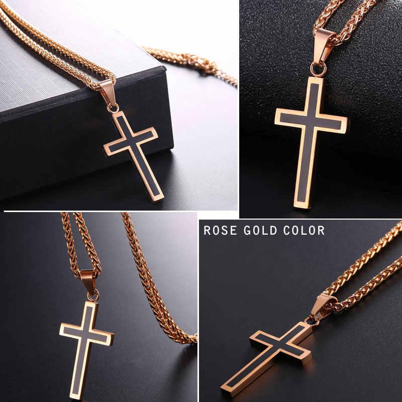 U7 krzyż wisiorek emaliowany naszyjnik ze stali nierdzewnej czarny złoty kolor dla mężczyzn/kobiet religijna biżuteria chrześcijańska świąteczne prezenty P581