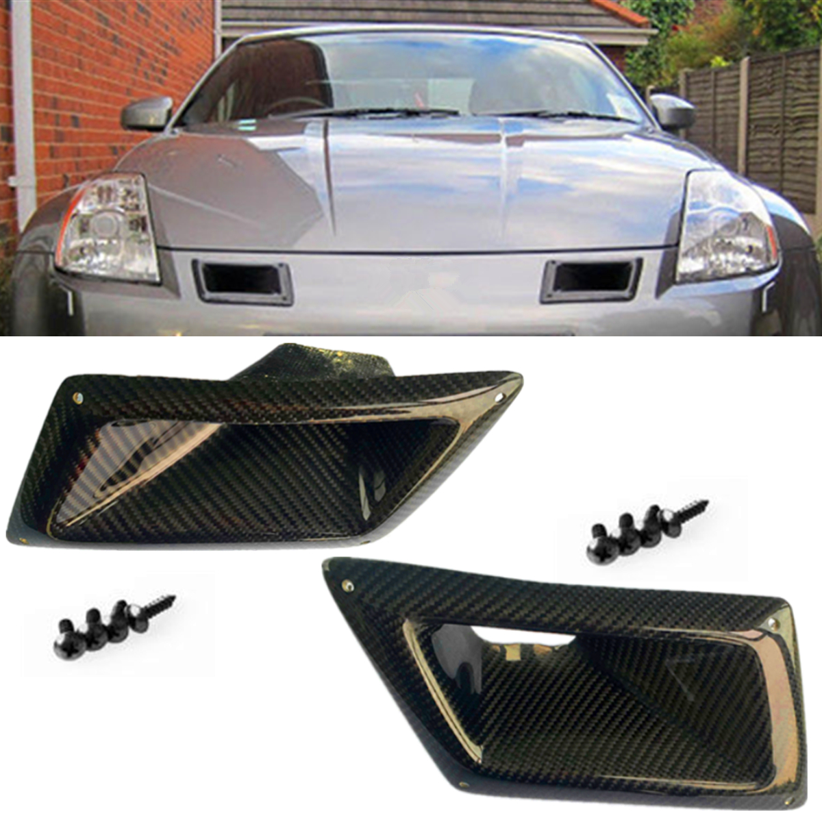 1Pair Carbon Fiber Front Bumper Air Vents Cover Trim Ducts Intake Fit for Nissan 350Z Z33 ND 2003-2009 carbon fiber dial dash cover glossy fibre finish interior accessories trim fit for nissan 350z z33 car styling