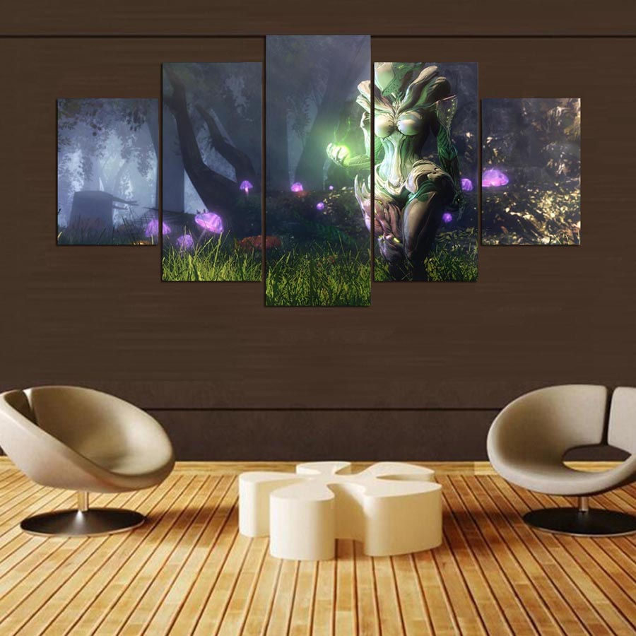 Home Decoration Game: 5 Pieces Wall Art Painting Warframe Home Decor Canvas HD