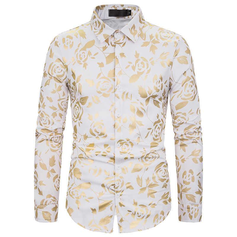 秋ナイトクラブ男性のラペルは金色プリントスリム長袖シャツ潮花柄シャツの男性のジャケットメンズシャツ男性服