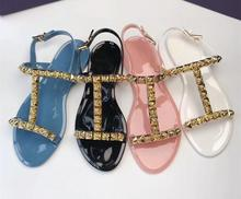 Fashion summer sandals women diamonds jelly Chic T-type shoes beach EU35-39 SIZE BY476