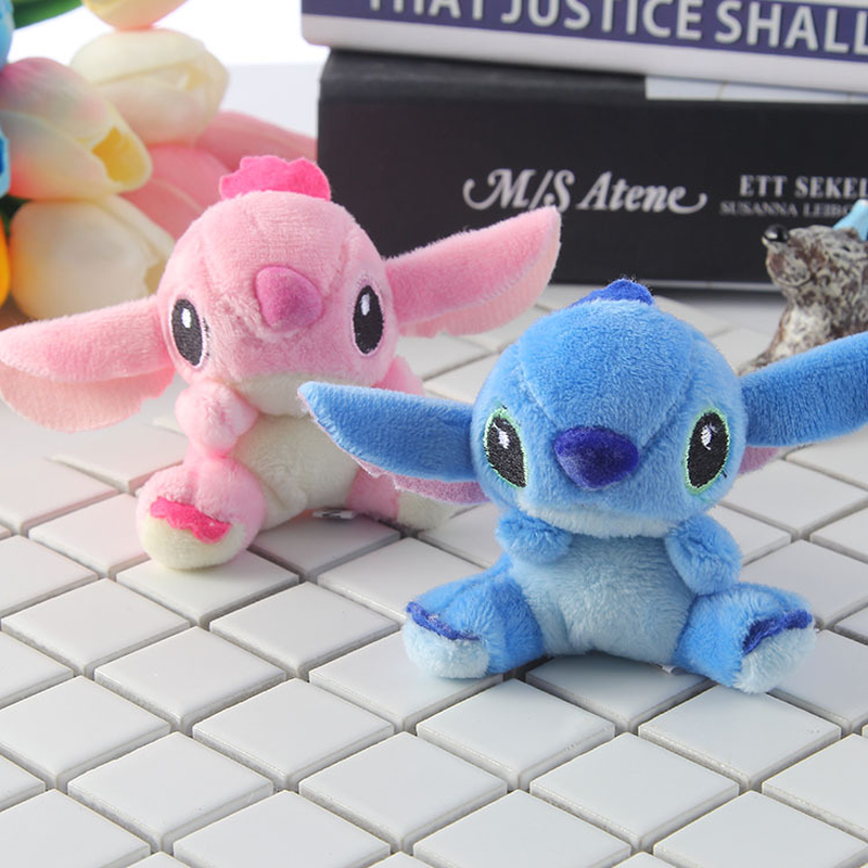 2pcs/set Kawaii Stitch Plush Toy Keychains Stuffed Soft PP cotton Phone Charm Strap Bag Pendant 7x6.5cm