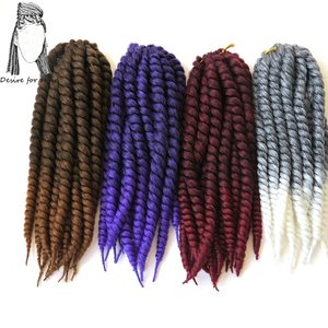 Desire for hair 7packs 12inch 80g 12strands ombre purple grey color synthetic crochet mambo twist braids hair for kids and woman
