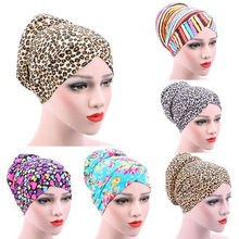 b53b1a51824 Women s Leopard Muslim Stretch Turban Hat Chemo Cap Hair Loss Head Scarf  Hijab(China)