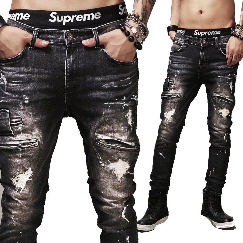 Olrain Mens Black Locomotive Street Straight Leg Slim Fit Ripped Distressed Jeans