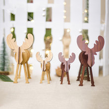 2Pcs/lot 2 Sizes Creative Wood DIY Crafts Christmas Decoration for Home Christmas Deer Elk Pendants Christmas Tree Ornaments(China)