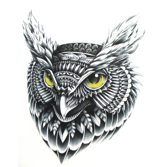 flying owl temporary tattoo hand painted realistic owl tattoo stickers women and man waterproof tattoo stickers