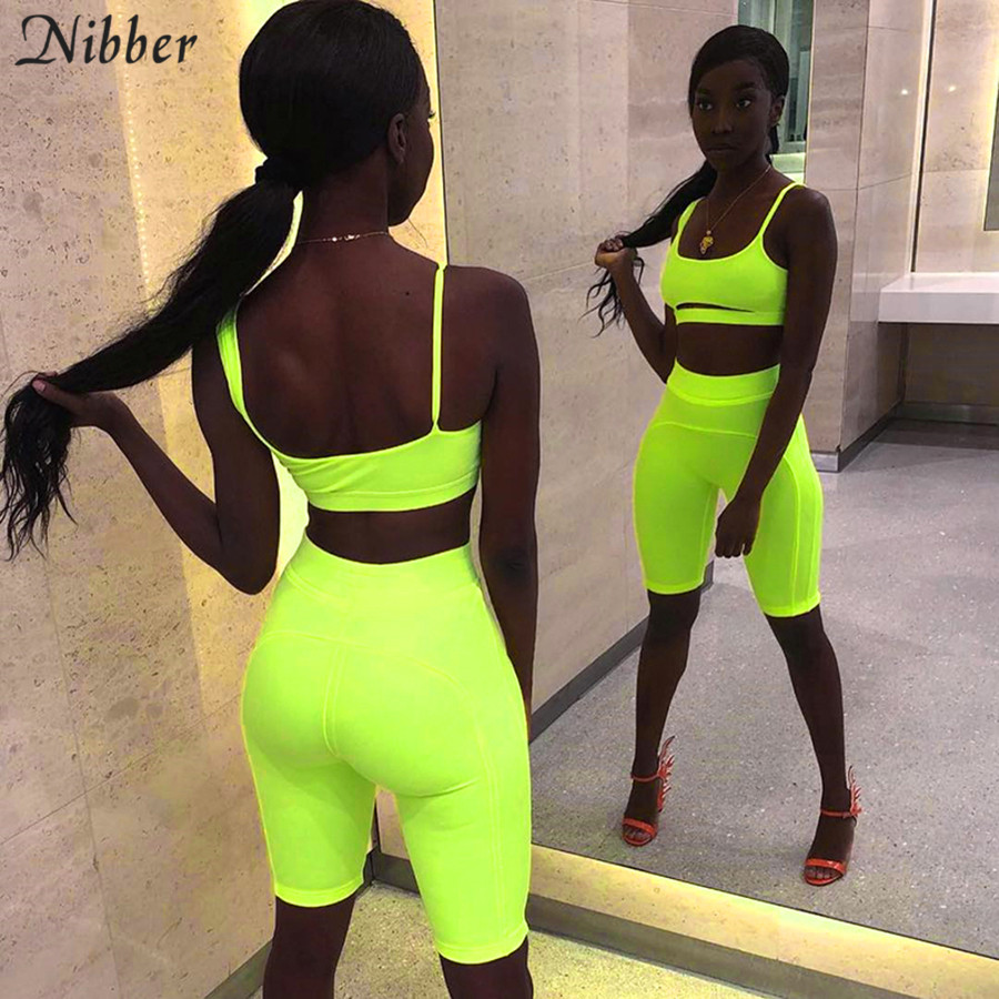 Nibber 2019summer Neon Color Sexy Top Shorts Women 2two Pieces Sets Fashion Bodycon Stretch Tees Mujer Sportswear Jogging Suits