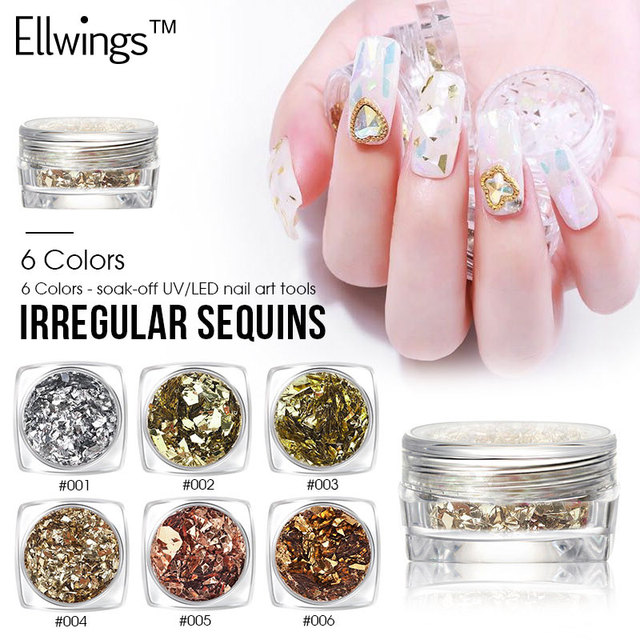 Ellwings Decoration Nail Art Sequins Irregular Shining Gel Polish Glitter Powder Flakes Uv