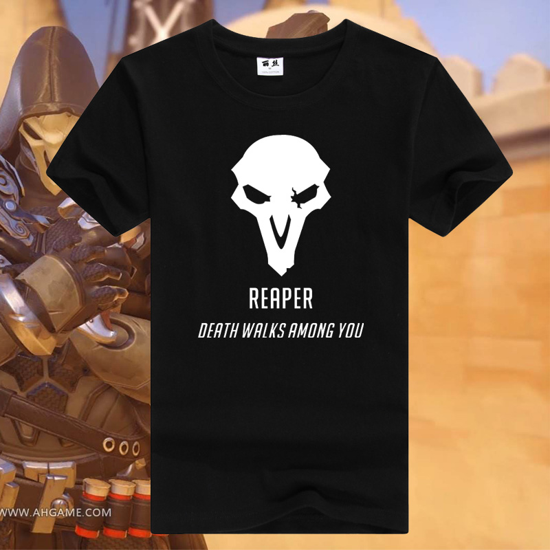 Watch Over/ Watchman pioneer Character REAPER T shirt high quality gamer t shirt DEATH WALKS AMONG YOU mens tee AC171