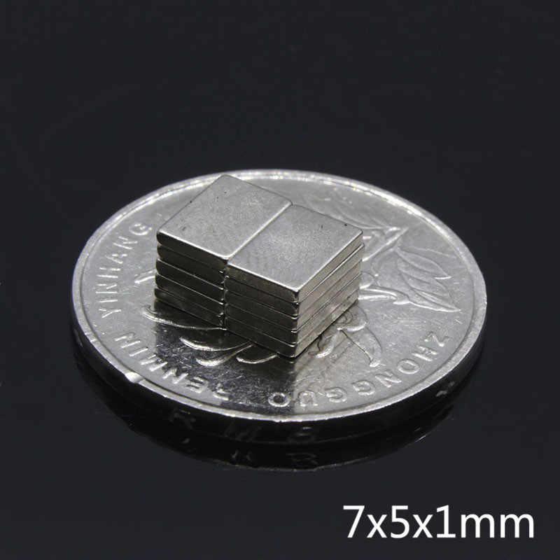 100 piezas de 7x5x1mm Super fuerte ronda imanes de neodimio 7*5*1mm raras tierra N35 NdFeB potente imán permanente Material magnético