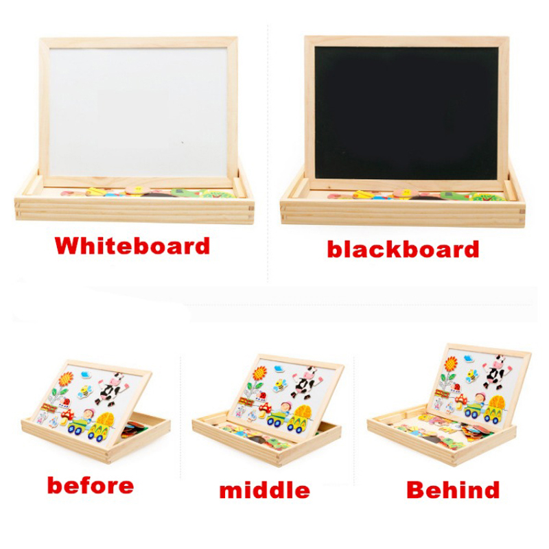 Montessori Toys Educational Wooden Toys for Children Early Learning Kids Magnetic Stickers Puzzles Games