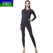 YOOY для женщин лыжный термобелье комплект дамы Быстросохнущий Funktion компрессионный костюм Фитнес облегающие рубашки спортивные черные костюмы