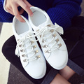 Fashion ladies casual shoes woman lace up small white shoes women flats round toe fringe footwear metal decoration zapatos mujer