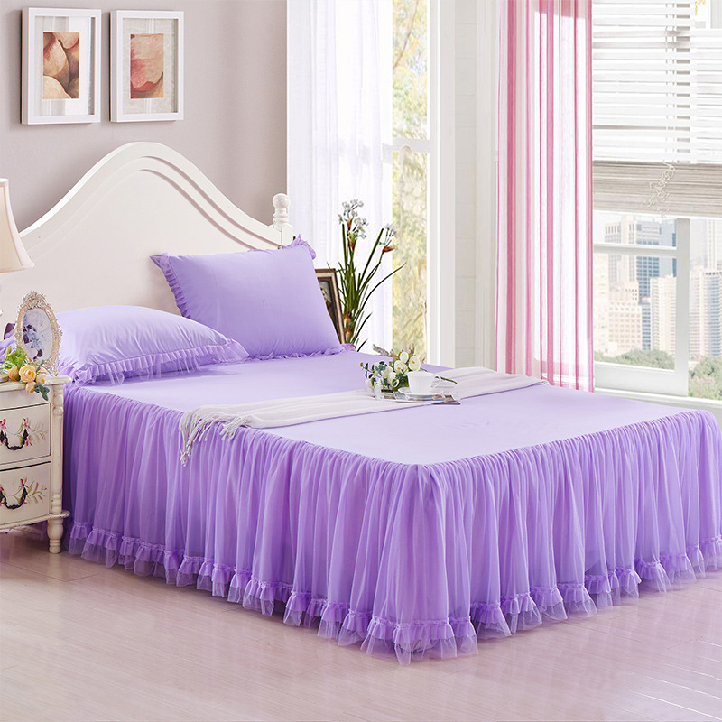 Princess bed skirt Lace Palace bed cover summer style bed sheet purple romantic bed set 180*200cm bedspread European bedclothes