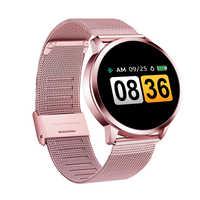 Q8 Più Rosa Orologio Intelligente Schermo A Colori OLED Smartwatch di Modo delle donne di Fitness Tracker Heart Rate monitor Wristband Passo Contatore