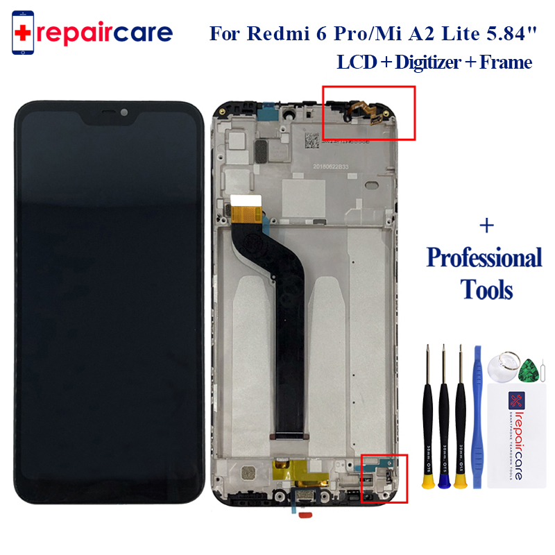 For <font><b>Xiaomi</b></font> Mi A2 Lite for <font><b>Xiaomi</b></font> <font><b>Redmi</b></font> 6 Pro LCD <font><b>Display</b></font> Touch Screen Digitizer Assembly with <font><b>frame</b></font> 5pcs with free shipping image
